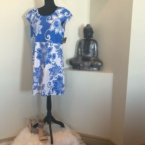 NWT blue/white patter dress by Taylor